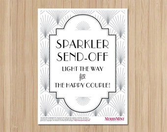 Instant Download - Art Deco Wedding - Sparkler Send Off Sign - The Charleston  - Gatsby Wedding - Light the Way