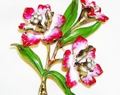 Coro Pink Red and White Enamel Flower Brooch