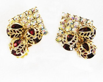 Siam Ruby Red and Aurora Borealis Filigree Clip Earrings