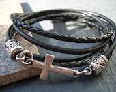 Leather Bracelet, Natural Black, Cross Bracelet, Cross, Religious Gift, Mens Bracelet, Womens Bracelet, Faith, Mens Jewelry, Womens Jewelry