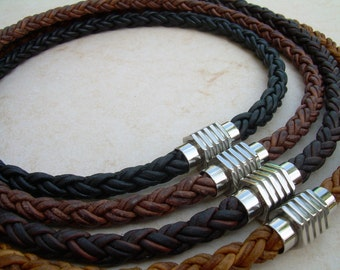 Mens Leather Necklace, Stainless Steel Magnetic Clasp,Mens Necklace,Mens Jewelry, Groomsmen