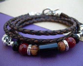 Triple Wrap Gemstone and Leather Bracelet, Antique Brown Braided, Mens Bracelet, Womens Bracelet, Mens Jewelry, Womens Jewelry