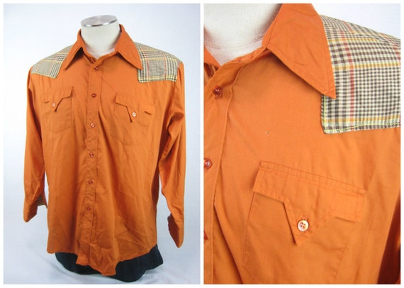 70s Vintage Western Shirt / 1970s Western Shirt / 70s Mens Shirt / Modernized Vintage Shirt