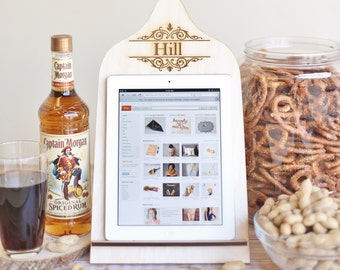 Personalized iPad Stand Cutting Board Style Kindle, Nook, Tablet Country Kitchen Wedding Gift