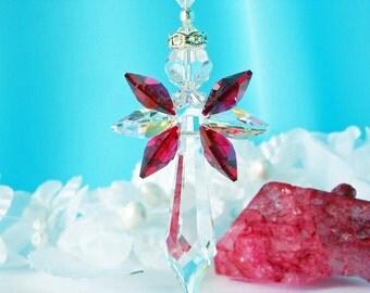 Red Guardian Angel Car Charm Swarovski Crystal  Rearview Mirror Accessories