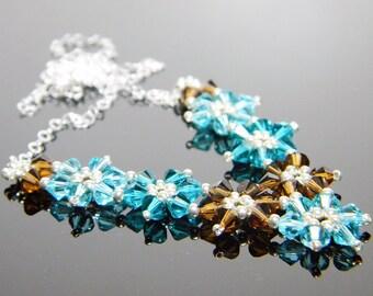 Daisy Chain Custom Color Flower Swarovski Crystal Necklace Beadweaving Sterling Silver