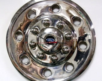 Ford Pickup Truck Wall Clock - 1980's 1990's Chrome F-Series Hubcap