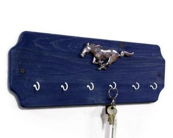 Ford Mustang Key Rack - Blue Wood Key Hook - Wall Key Holder - Automotive Rack - Car Key Rack