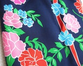 Vintage Diane Fres Scaf Pink Orange Blue flowers on Navy Large Scarf