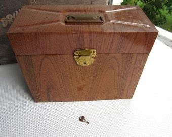 Vintage Faux Bois Metal File Box Porta Personal File