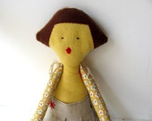 Noa-- Doll----Child friendly---Recycled--Toy-Cotton-yellow---under 55 USD