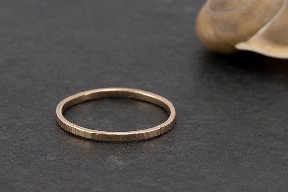 14K yellow gold stacking ring with hammer finish - custom; wedding ring, commitment ring