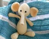 Crocheted Elephant Stuffed Toy, Amigurumi Animal, Butter-Cream Color