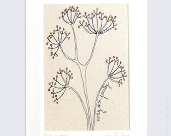 Rosy Cow Parsley - Personalised Mounted Embroidery - pink and yellow - 10x8