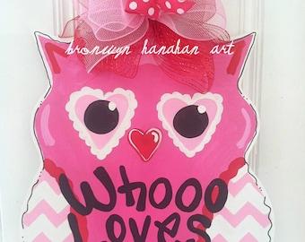 Valentine Owl Door Hanger - Bronwyn Hanahan Art