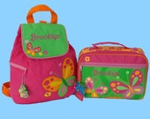 Personalized Stephen Joseph  BUTTERFLY Themed Backpack and Lunchbox School Set-Monogramming Included