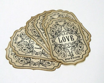 Love Potion Labels, Love Potion #9, Love Gift Tags, Wedding Supplies, Bottle Labels, Love Label, Valentines Day Label, Packaging, Wish Tree