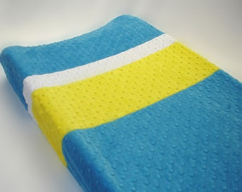 Turquoise Blue Changing Pad Cover with Stripes