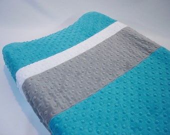 Azure Teal Blue Changing Pad Cover with Stripes