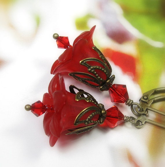 Christmas, Crimson, Flower Earrings, Vintage Style, Red Earrings, Christmas Jewelry, Christmas Bells, For Her, Under 25, Stocking Stuffers