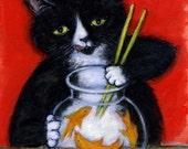 Sashimi Time.  Archival 8.5x11 tuxedo cat print