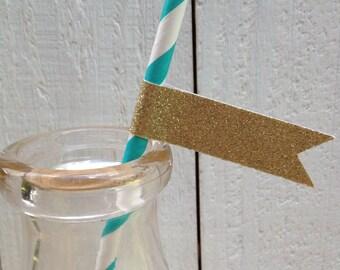 Paper Straws Gold Glitter Flags Wedding Shower