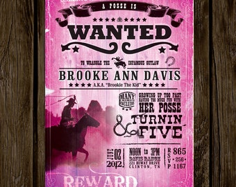 Wanted Poster Birthday Invitation // PINK