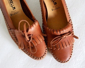 Leather Loafers Fringed 70s Cognac High Heels Shoes Office Fashion Vintage size 6