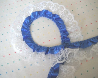 """Royal Blue Satin and White Lace Ruffle Trim, 2"""" Wide"""