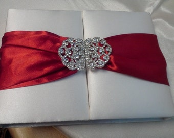 INVITATION BOX DIY - White Invitation box with Satin Ribbon, Use your own invitation card, Crystal Brooch