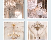 Versailles Photography Set - Four Paris Fine Art Photographs, French Home Decor, Gold Chandeliers, Large Wall Art