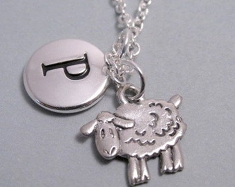 Sheep, Farm Animal Necklace, Sheep Charm, Keychain with Sheep, Silver Plated Charm, Initial, Personalized, Monogram