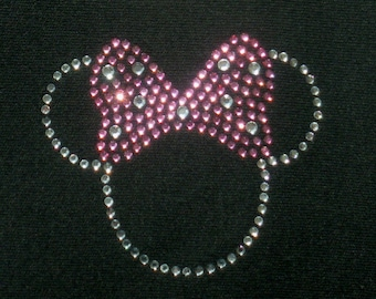 "Tiny 2.5"" PINK Minnie Mouse iron on hot fix rhinestone transfer for Disney t-shirt"