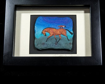 Horse Art: Crossing the Creek. Horse and Fox Shadow Box  Framed and Matted Bas-Relief Sculpture in Polymer Clay . 3235
