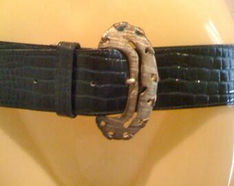 Mod Silver Hammered Faux Croc Leather Belt S/M