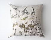 Linen Pillow Cover - Birds & Bees - jennarosehandmade