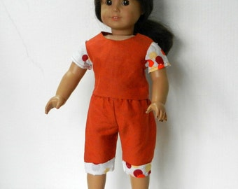 DC Top and Capri Pants in Rust with White & Colorful Circles Accents  - 18 Inch Doll Clothes fits American Girl