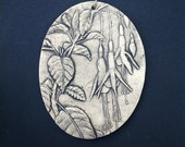 Fuschia Ceramic Pottery Flower Relief Sculpture Garden Tile