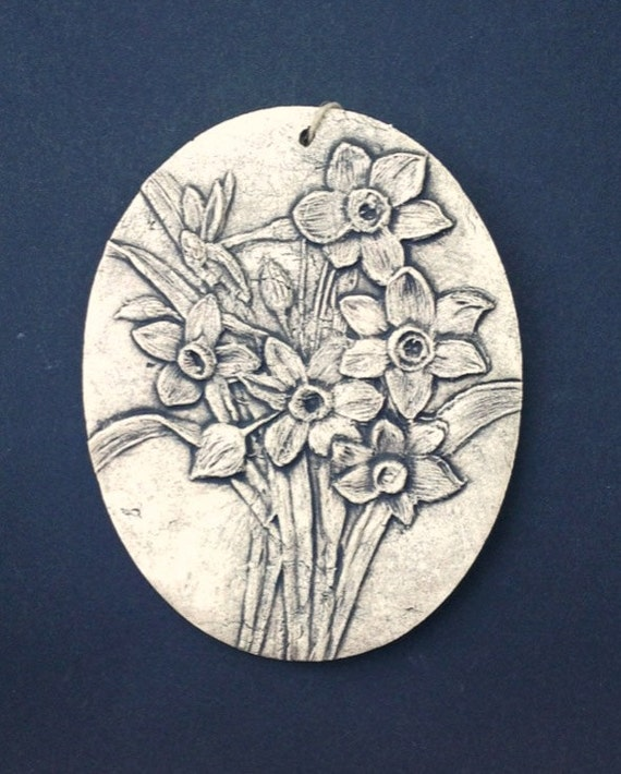narcissus ceramic pottery flower relief by wilburtonpottery. Black Bedroom Furniture Sets. Home Design Ideas