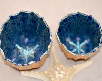 Ceramic  SEA URCHIN.  Yellow - Deep Blue Bowl. Nature Inspired Hand Pinched  Pot. Ice Cream Bowl. Decorative Vessel. Handmade Pottery.