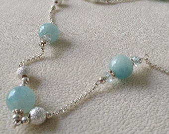 Semiprecious Aquamarine Double Strand Long Necklace in Sterling Silver