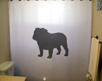 bulldog shower curtain dog bull kids bathroom decor bath cute unique simple beautiful silhouette custom breed