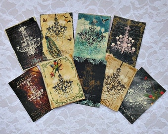 4 CHOICES of Art Trading Cards or STICKERS- Alice in Wonderland ATC Cards art collection art cards vintage theater peacock Alice altered art