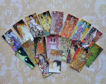Set of 18 KLIMT Art STICKERS- Klimt paintings, Klimt prints, The Kiss, Klimt Dominoes, Accomplishment, Three Ages of Woman - READY to use