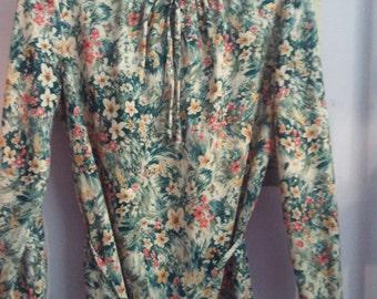 70s polyester boho blouse shirt top flower paisley hippie disco  grunge