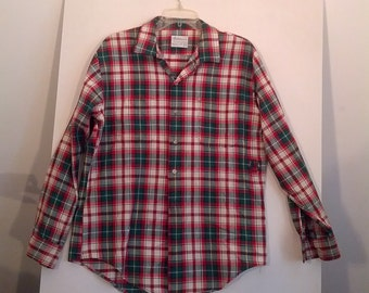 vintage distressed plaid shirt grunge 60s 90s tartan dress shirt button down Masterweaves Large L