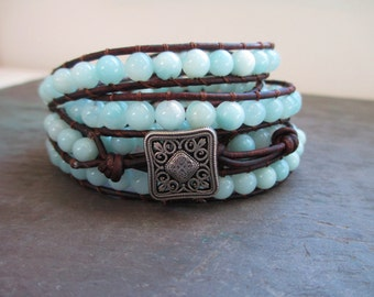 Amazonite Gemstone 5 Wrap Leather Bracelet - 6mm gemstone beads on leather cord - Beaded Leather Wrap - Yoga Jewelry