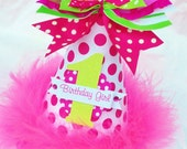 Hot Pink and Lime Green Birthday Party Hat with Polka Dots