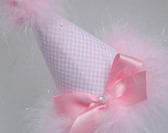 1st  Birthday Party Hats in Pink Gingham