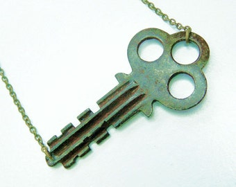 Antique Key Necklace - repurposed recycled antique key with natural patina